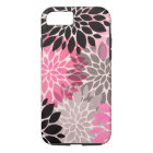 Pink grey black abstract floral pattern modern iPhone 8/7 case