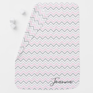 Pink & Grey Chevron Monogram Baby Blanket