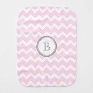 Pink Grey Chevron Monogram Burp Cloth