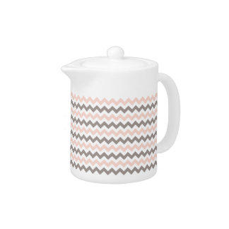 Pink & Grey Chevron Small Teapot