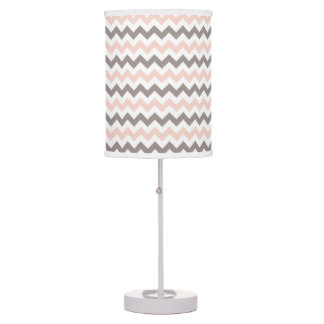 Pink & Grey Chevron Table Lamp