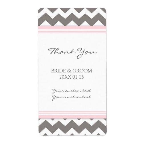 Pink Grey Chevron Wedding Labels