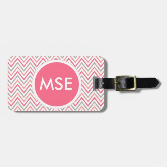 Pink Grey Chevron Zigzag Monogram Bag Tag