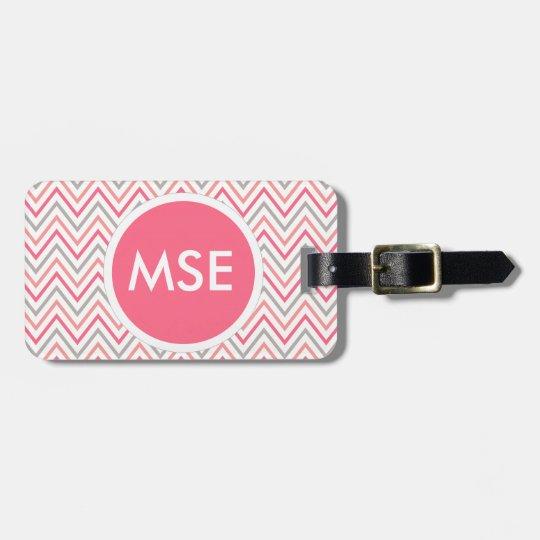 Pink Grey Chevron Zigzag Monogram Luggage Tag