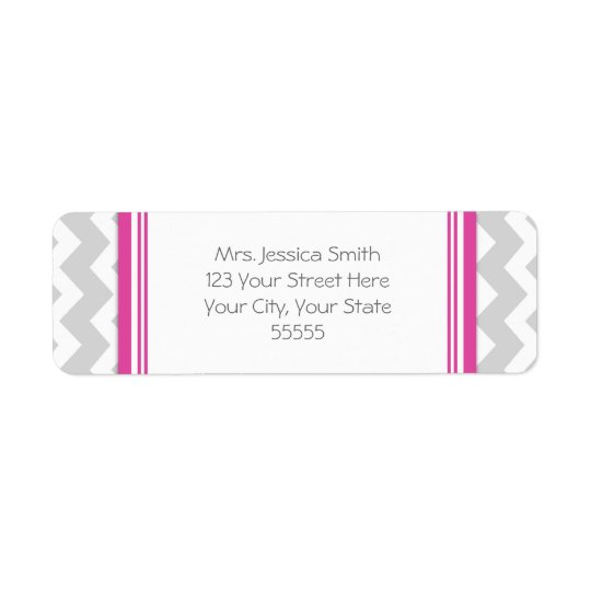 Pink Grey Chevrons Custom Return Address Labels