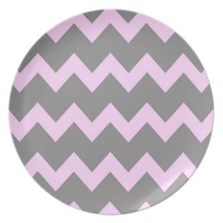 Pink Grey Chevrons Plate