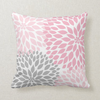 Pink Grey Dahlia floral pillow