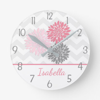 Pink Grey Dahlia Flower Wall Clock