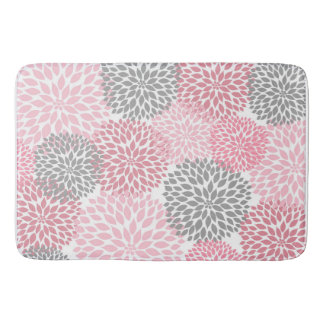 Pink Grey Dahlias Floral flowers blossoms Bath Mat