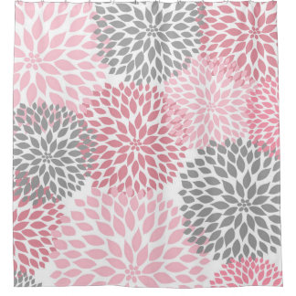 pink grey shower curtain. Pink Grey Dahlias  flowers floral blossoms And Shower Curtains Zazzle Canada