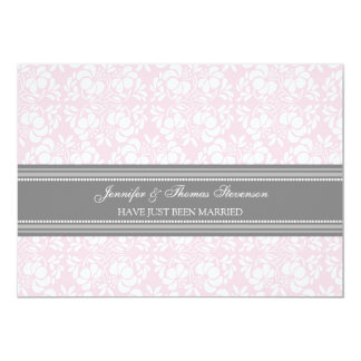 Pink Grey Damask Just Married Announcement Cards