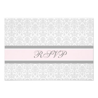 Pink Grey Damask RSVP Wedding Card Custom Invitations