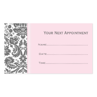 Pink Grey Damask Salon Appointment Cards Business Card