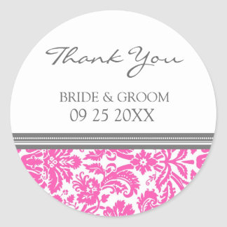 Pink Grey Damask Thank You Wedding Favor Tags Round Sticker