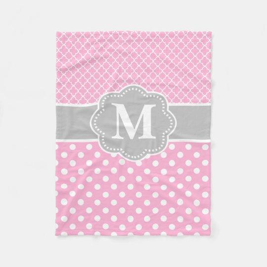 Pink Grey Dots Quatrefoil Monogram Fleece Blanket
