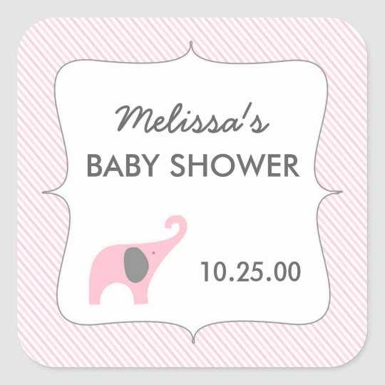 Pink grey elephant baby shower favour sticker
