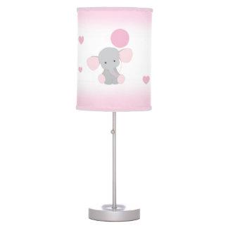 Pink Grey Elephant Nursery Baby Girl Safari Animal Table Lamp