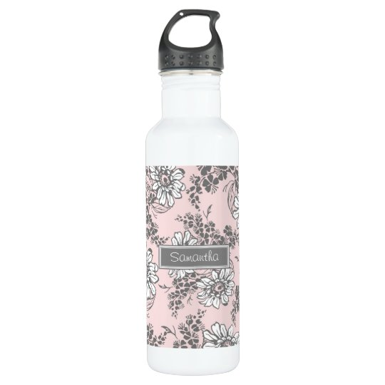 Pink Grey Floral Custom Name 710 Ml Water Bottle