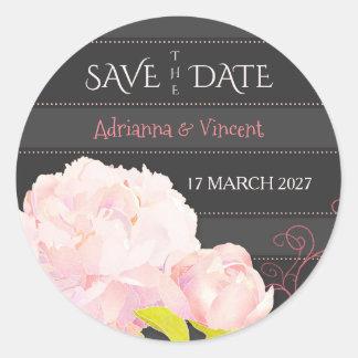 Pink Grey Floral Elegance Wedding Save the Date Round Sticker