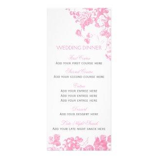 Pink grey floral wedding dinner menu template set custom rack cards