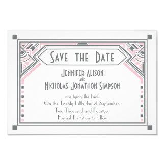 "Pink - Grey Gatsby Art Deco Wedding Save the Date 3.5"" X 5"" Invitation Card"