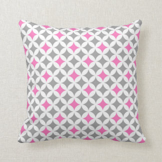 Pink Grey Geometric Pattern Decorative Pillow
