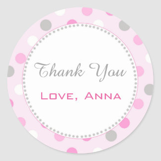 Pink Grey Gift Favor Label Polka Dots