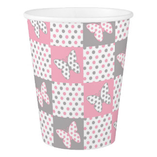 Pink Grey Gray Butterfly Polka Dot Patchwork Quilt Paper Cup
