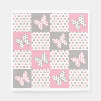 Pink Grey Gray Butterfly Polka Dot Patchwork Quilt Paper Napkin