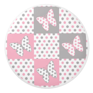 Pink Grey Gray Butterfly Polka Dot Quilt Girl Ceramic Knob