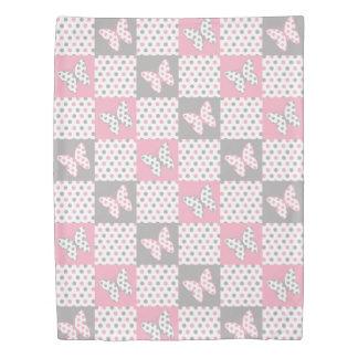 Pink Grey Gray Butterfly Polka Dot Quilt Girl Duvet Cover