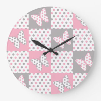 Pink Grey Gray Butterfly Polka Dot Quilt Girl Large Clock