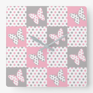Pink Grey Gray Butterfly Polka Dot Quilt Girl Square Wall Clock
