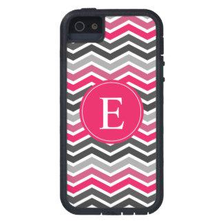 Pink Grey Gray Chevron Monogram iPhone 5 Covers