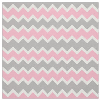 Pink Grey Gray Chevron Zigzag Pattern Fabric