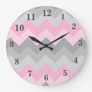 Pink Grey Gray Ombre Chevron Girl Large Clock