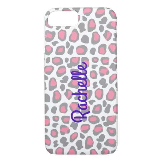 Pink Grey Grey Leopard Animal Print iPhone 7 Case