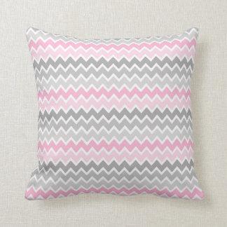 Pink Grey Grey Ombre Chevron Pillow