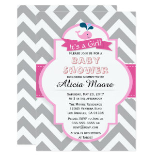Pink & Grey It's A Girl Baby Shower Invitation