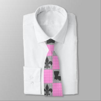 Pink & Grey Louisiana Fleur De Lis Patterned Tie