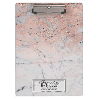 Pink & Grey Marble Modern Fashion Personalized Clipboard