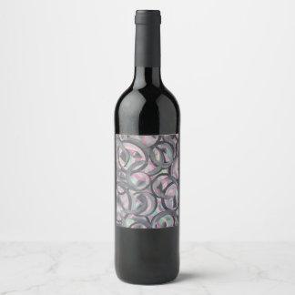 pink grey mint circle wine label