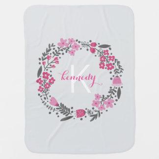 Pink Grey Monogram Baby Blanket