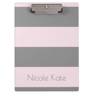 Pink Grey Monogram Clipboards