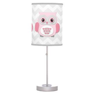 Pink Grey Owl Lamp