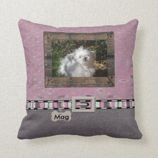 Pink Grey Pet Photo Striped Collar Name template Throw Pillow