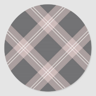 pink & grey plaid classic round sticker