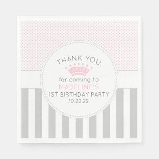 Pink Grey princess crown birthday party napkins