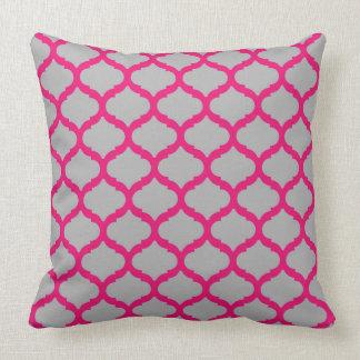 Pink Grey Quatrefoil Throw Pillow