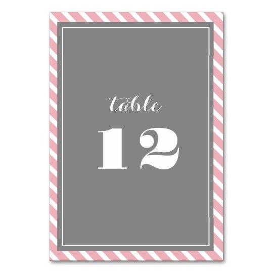 Pink & Grey Stripes Wedding Table Number Cards